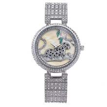 hot deal buy miss fox fashion watch women genuine rhinestone leopard ladies wathces stainless steel full diamond wristwatch relogio feminino