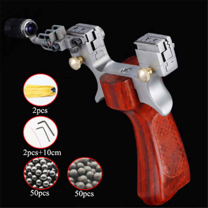 Hunting Slingshot Catapult Stainless Steel with Target Outdoor Shooting Handheld Slingshot with Rubber Band New 2019