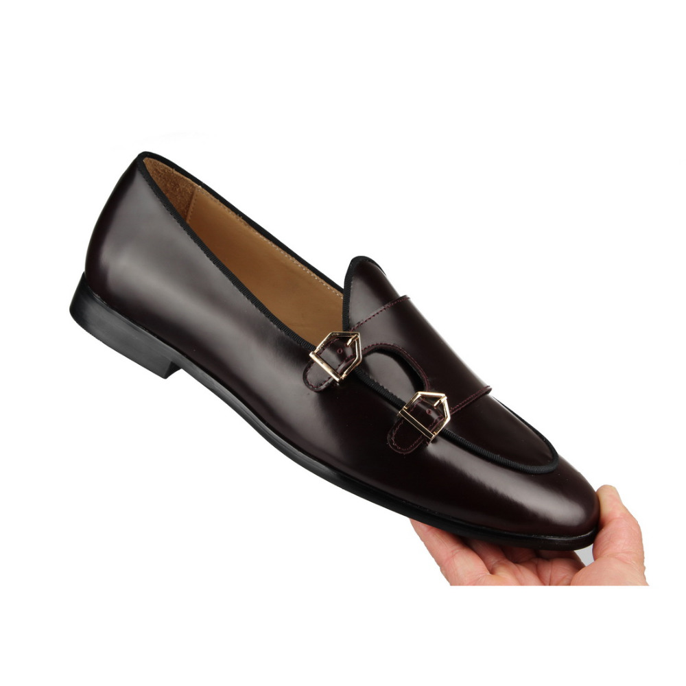 POLISHED LEATHER DOUBLE-MONK LOAFERS Brown (8)
