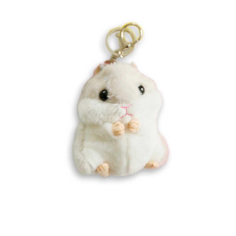 2017 Monstro Dos Desenhos Animados Keychain Trinket Mini Hamster Pele Pom Pom Mulheres fluffy Coelho Boneca Saco Chave Do Carro Anel de Presente Da Jóia atacado