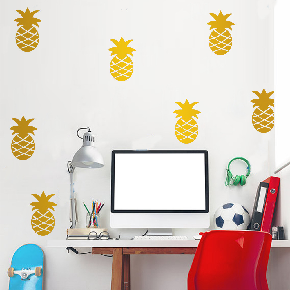 DIY 12pcs Ananas Pineapple Removable Vinyl Wall Stickers For Living ...