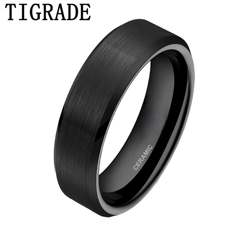 TIGRADE 6mm Black Brushed Brand Ceramic Ring Men Wedding Band Engagement Rings For Women Comfort Fit