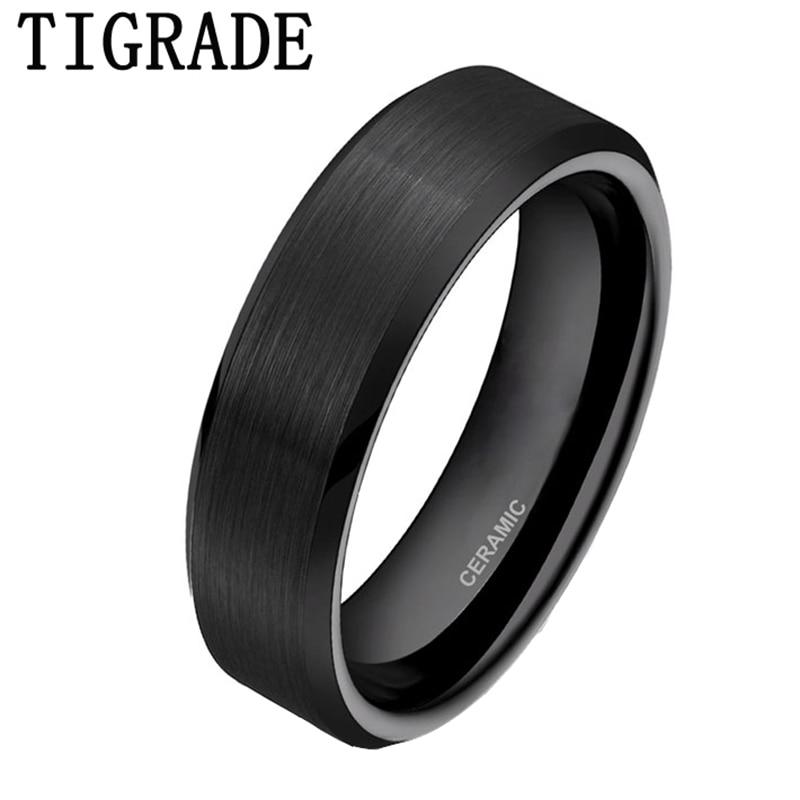 TIGRADE 6mm Black Brushed Brand Ceramic Rings