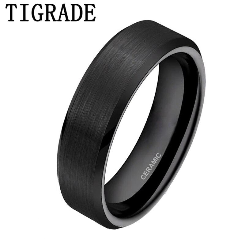 TIGRADE 6mm Black Brushed Brand Ceramic Ring Men Wedding Band Engagement Rings For Women Comfort Fit