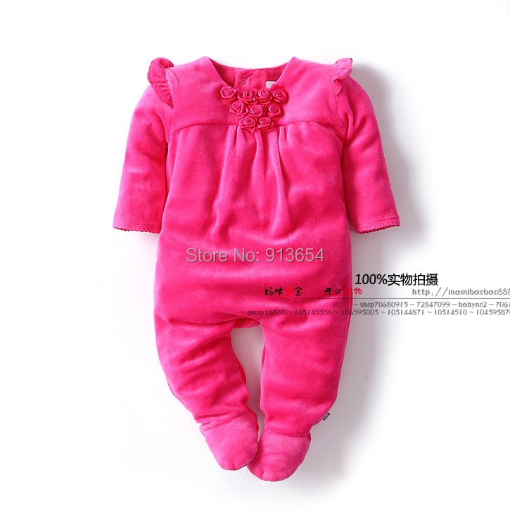 new 2017 spring autumn children clothing Boutique newborn infant velvet jumpsuits baby girls Long sleeve rose princess rompers autumn winter baby rompers children clothing set newborn clothes bebes microfleece long sleeve girl clothing infant jumpsuits