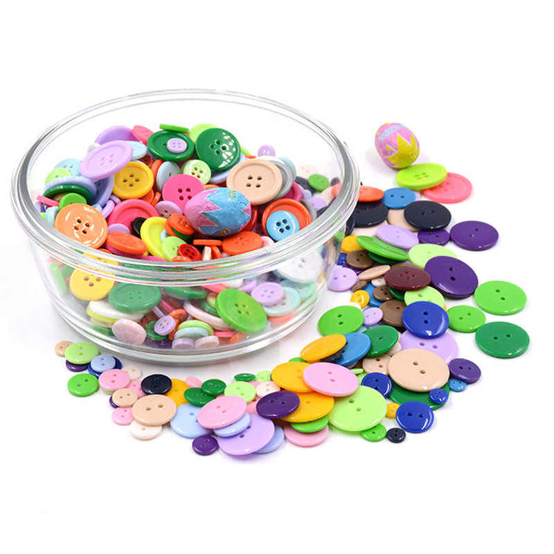 100Pcs12mm Children Toys Threading Stitch Buttons Handmade Toys Puzzle Game for Children Fine Motor Hand-eye Coordination Toys