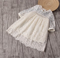 Girls Flowers Lace Embroidery Dress Spring 2017 Girls Round Neck  Children Hollow Net  Princess Dress Beige