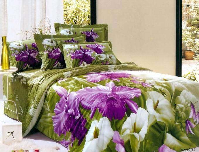 Purple And Green Bedding Sets.Purple Green Flower Floral Bedding Comforter Set Queen Size