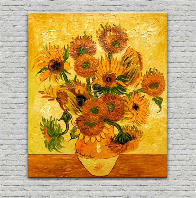 Museum Quality Handpainted Vase With Fifteen Sunflowers Oil Painting
