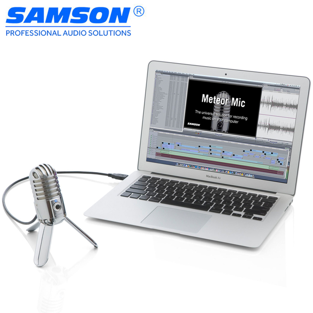 Samson Meteor Mic USB Studio Condenser Microphone for Computer Home Studio, Skype, iChat or Voice Recognition Software Microfono