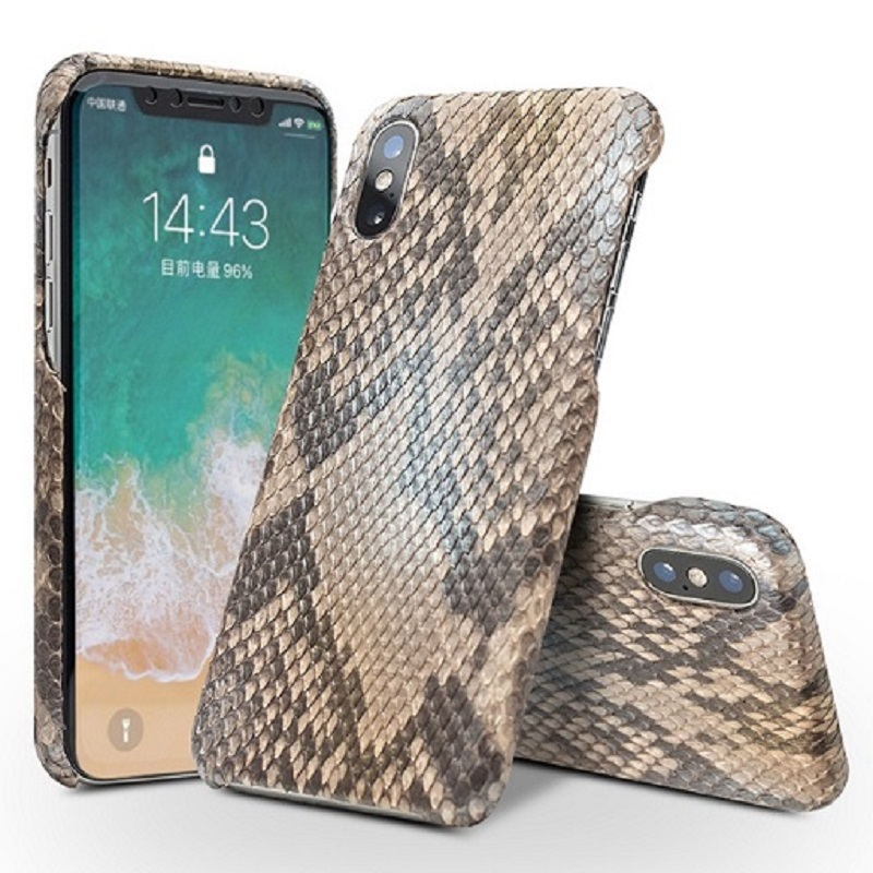 QIALINO Luxury Custom built Python Skin Genuine Leather Back Cover for iPhone X Ultra Thin Phone Case for iPhone X for 5.8 inch case for iphone leather back for iphone - title=