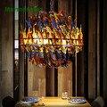 Цветная Подвесная лампа с перьями для гостиной  ресторана  бара  кафе. E27 * 4.