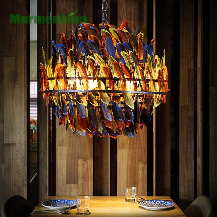 Trumpet colored feather pendant lamp living room restaurant bar cafe lamp. E27*4.Trumpet colored feather pendant lamp living room restaurant bar cafe lamp. E27*4.