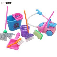9Pcs Mini Pretend Play Mop Broom Toys Cute Kids Cleaning Furniture Tools Kit Lovely Doll House Clean Toys (Random Color)(China)