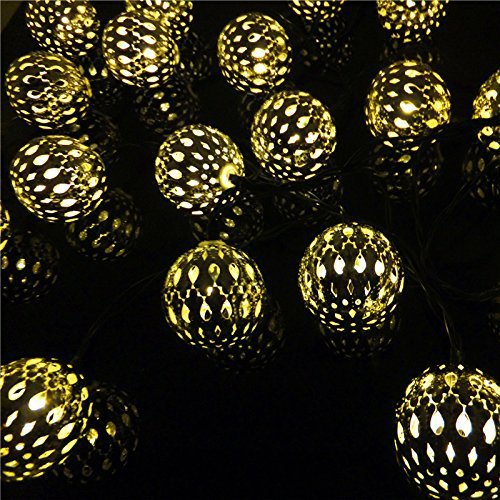 Solar Powered Silver Moroccan Orb Warm White LED String Lights 5M 20 LED  For Outdoor Garden