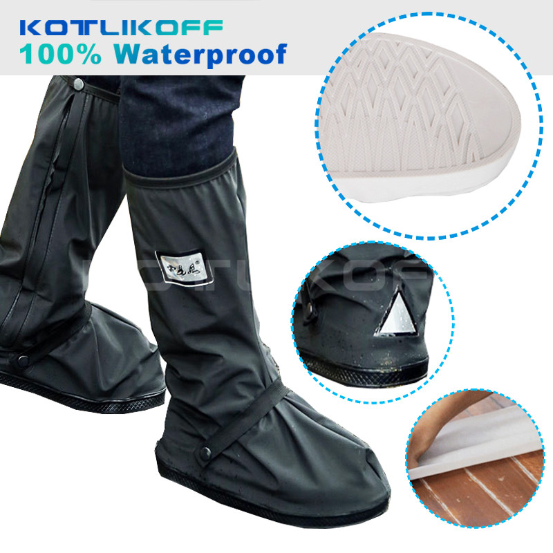 KOTLIKOFF Motorcycle Waterproof Rain Shoes Covers Thicker Scootor Non-slip Boots Covers 100% Waterproof Adjusting Tightness
