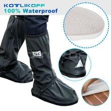 KOTLIKOFF Motorcycle Waterproof Rain Shoes Covers Thicker Scootor Non-slip Boots Covers 100% Waterproof Adjusting Tightness