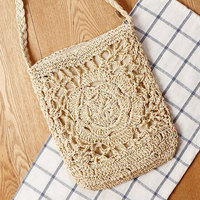Hollow Designer High Quality Fashion Hand Made Floral Straw Beach Shoulder Bag Rattan Woven Handbags Women