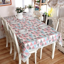Fashion Modern Scandinavian Triangles Cotton Linen Table cloth Bedstand Cover Photography Prop Rectangle Square Pink Blue Lace