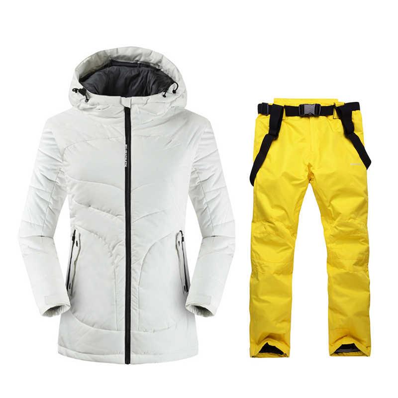 2019 hohe Qualität Ski Jacke Und Hosen Schnee Warme Wasserdichte Winddicht Skifahren Und Snowboarden Anzüge Winter Ski anzug Frauen Marke