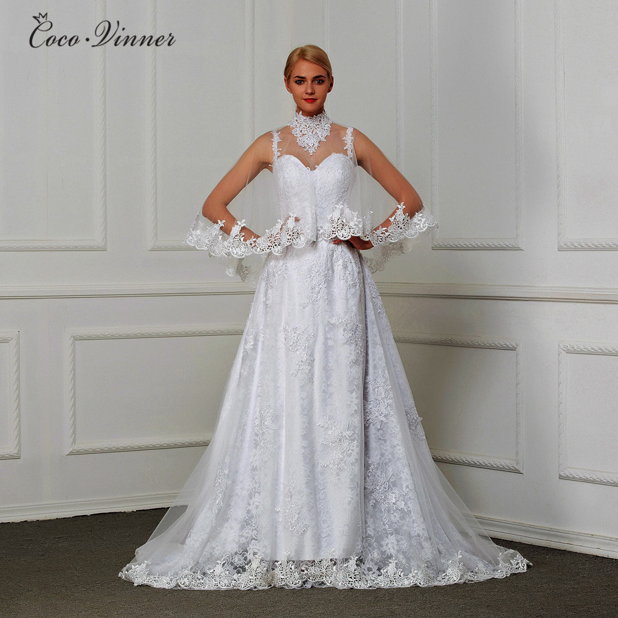 Straps With Wrap Two Pieces Fashion A Line Wedding Dress 2019 Embroidery Appliques Beading Court Train Bridal Gowns W0111