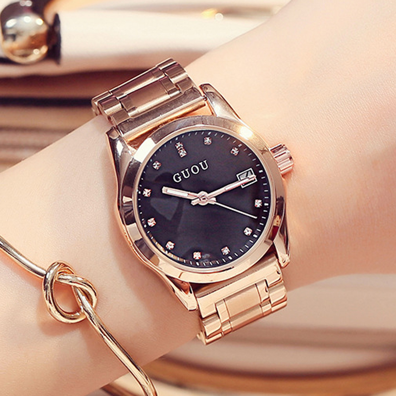 Kellad naistele GUOU Fashion Ladies Watch Naiste Kellad Käevõru Rose Gold Kellad Kalender Kell Diamond Montre femme saat