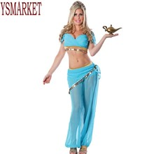 2017 Halloween costumes for women cosplay jasmine aladdin costume genie outfit arabian night princess fancy Dress costumes A8748(China)