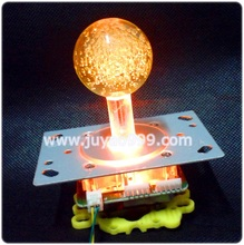 yellow lighted Illuminated  joystick with yellow crystal bobble top ball and microswitch with 5 pin wire