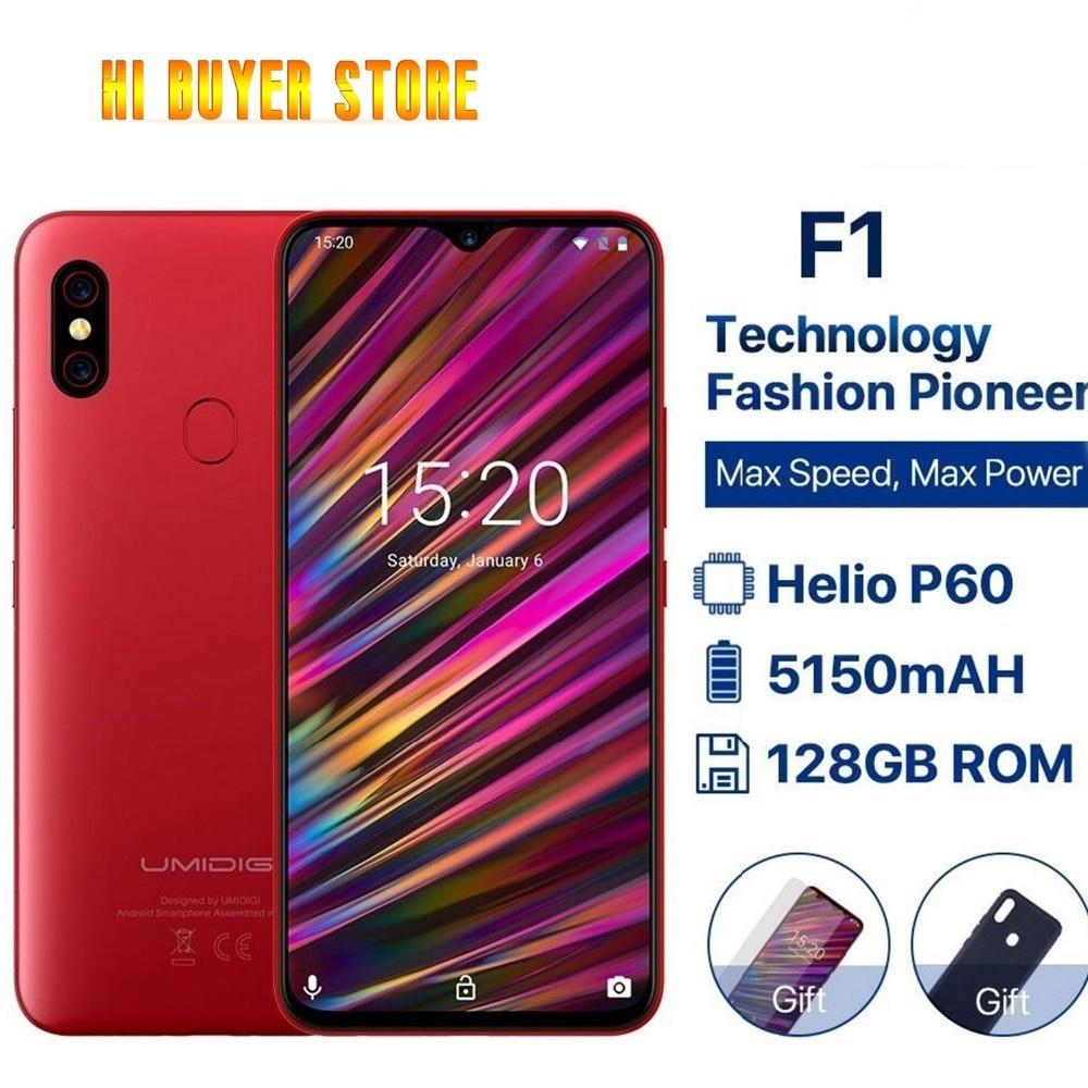 "Umidigi F1 6.3"" Waterdrop Fhd+ Display Helio P60 Android 9.0 4gb Ram 128gb Rom 5150mah 18w Fast Charge Smartphone Nfc 16mp Phone"