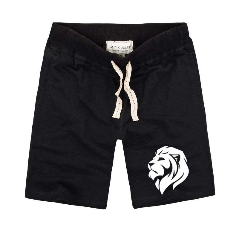 2020 Summer Brand Casual Shorts Men Animal Lion Head Printed Slim Fit Shorts Pure Cotton Fabric Comfortable Beach Shorts For Men