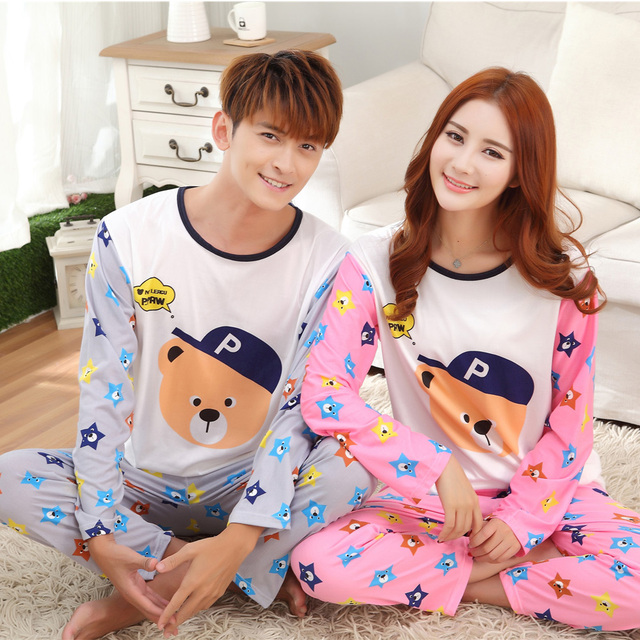feff47c95 Long Sleeve Pajama Sets Women And Men Sleepwear Couple Cartoon Bear ...