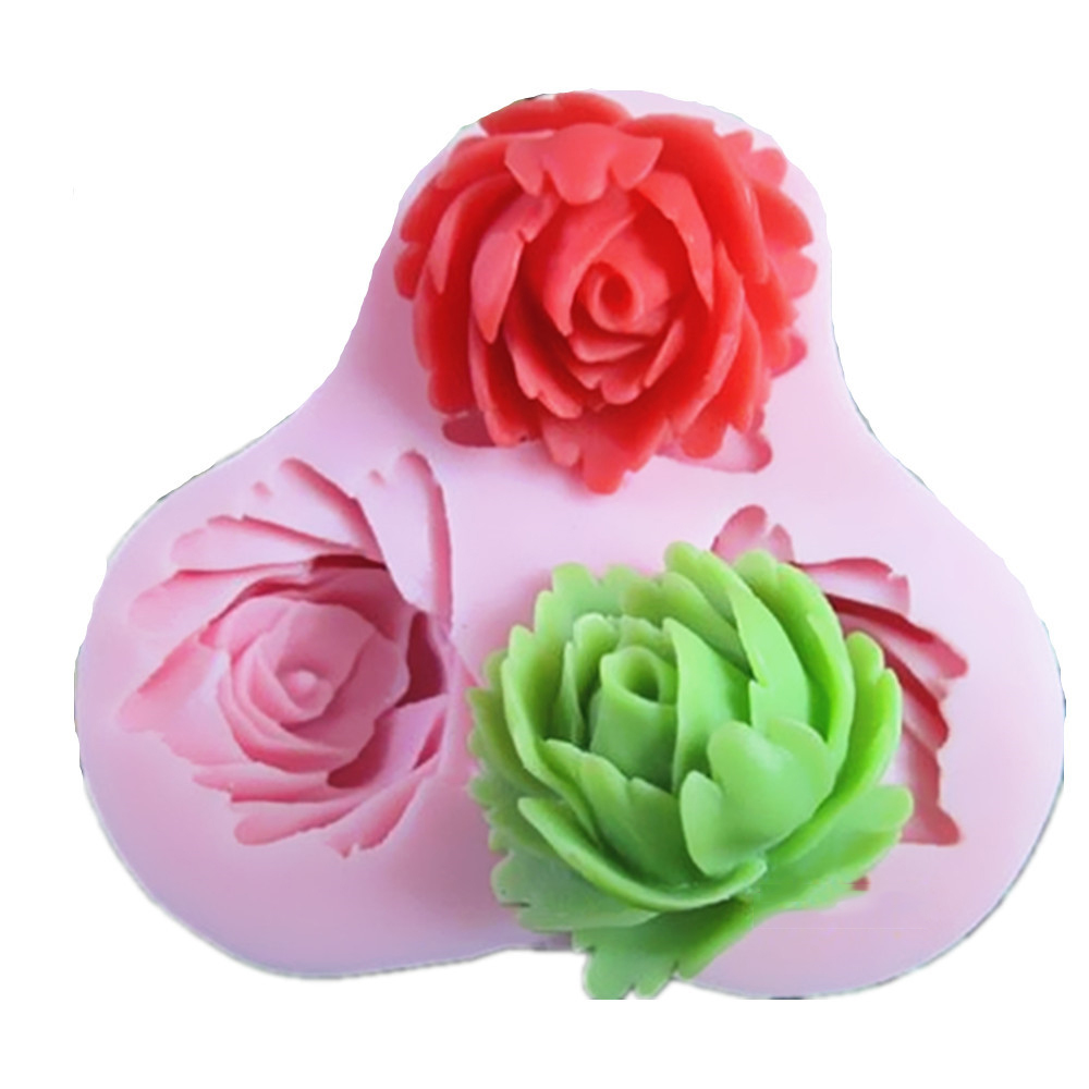 3 hole roses Arylic Resin Flower silicone mold,fondant molds,sugar craft tools,chocolate mould ,soap candle molds for cakes S068