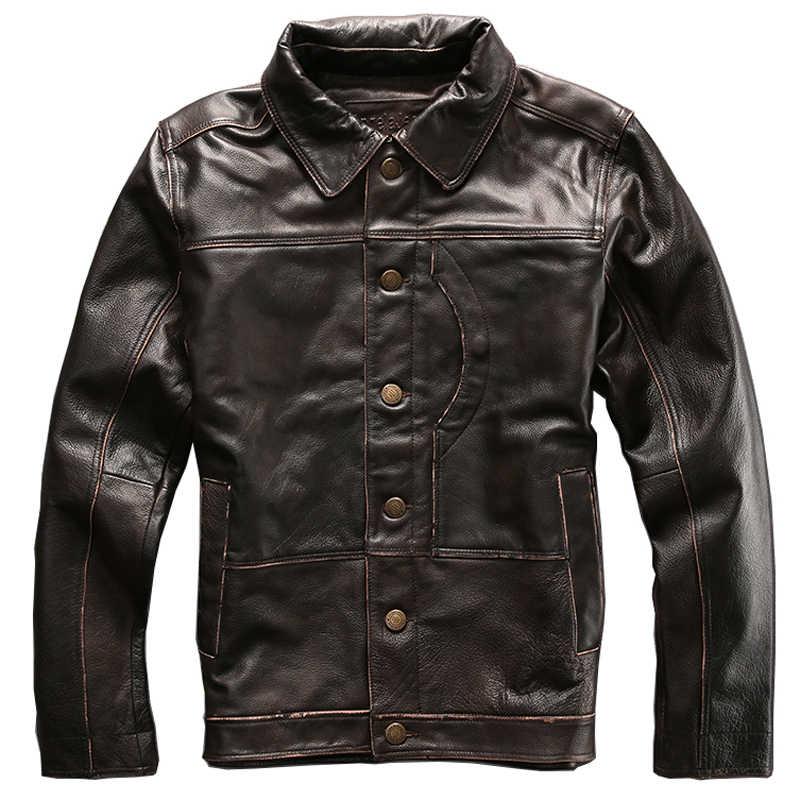 Винтажные мужские пальто из натуральной кожи в европейском стиле байкерские куртки мужские Куртки из натуральной кожи байкерские мужские пальто больших размеров XXXL A562