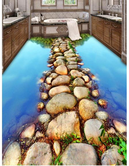 3D wallpaper custom 3d flooring mural wallpaper bathroom 3 d floor only beautiful river stone path pvc wallpaper home decoration