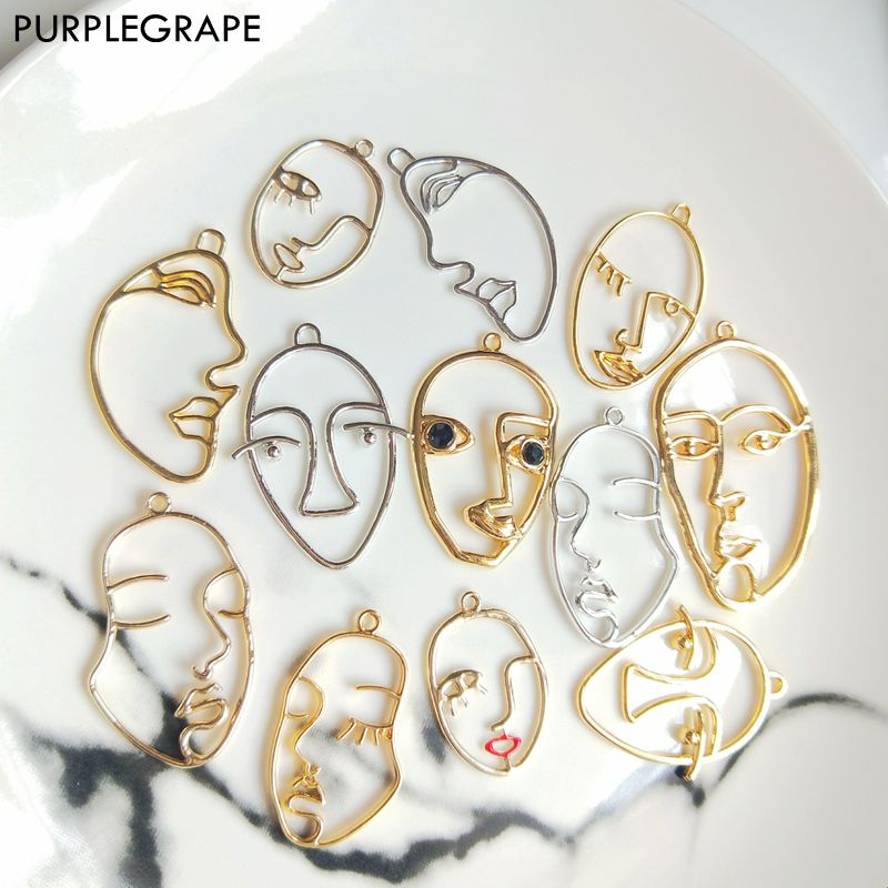 PURPLEGRAPE Minimalist Metal Personality Exaggerated Face Contour Earrings Pendant Accessories DIY Handmade 6pcs