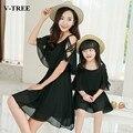 V-TREE лето мама и дочь платье шифон мать дочь платья черный/красный семья соответствующие наряды
