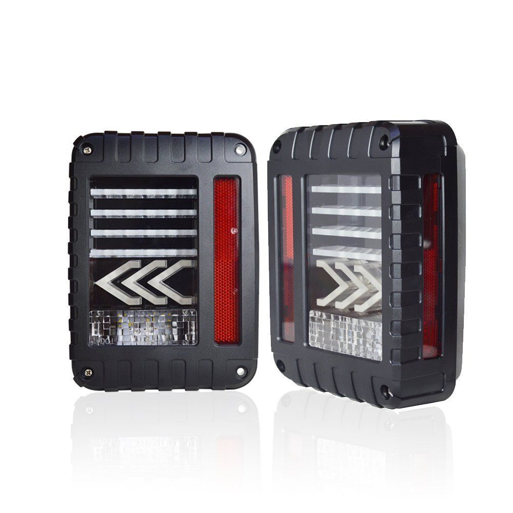 EU / US Pair of Red LED Tail Light Assembly Amber turn signal arrows flash & Back Up For Jeep Wrangler JK JKU 2007 - 2017 купить