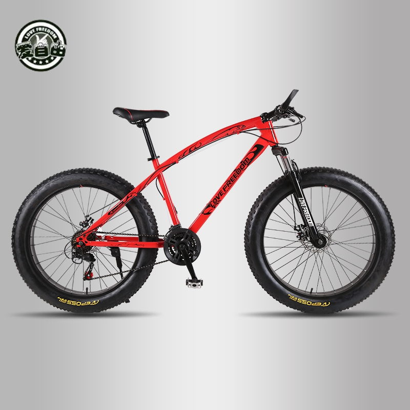 Liberdade amor Top Quality Bicicleta 7/21/24/27 Velocidade 26*4.0 Amortecedores de Bicicleta Gordura fornecimento Gratuito de bicicletas Bicicleta Da Neve