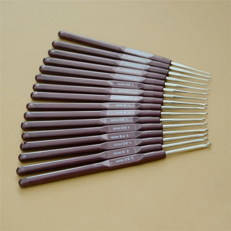 16 шт пластиковые ручки крючки для вязания крючком набор спиц для вязания крошетки и вязание s ремесла 0,5 мм-2,7 мм 16 размер