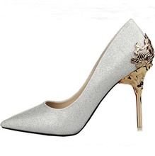 olive green silver white gray women wedding bridal shoes metallic flower detail pointy toe shiny sequined pumps high heels Shoes