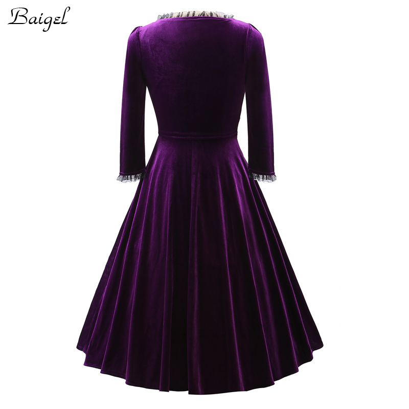 Womens Winter Long Sleeve Velvet Dress Black Red Purple Vintage 40s 1950s 60s Style Rockabilly Swing Party Dresses Plus Size 3XL (3)