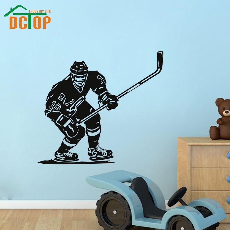 Depan hockey pemain ruang dinding dekoratif stiker hitam kualitas tinggi dicetak vinyl removable dinding mural decal