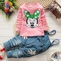 2016 mais novo da criança do bebê meninas dos desenhos animados Minnie Mouse de manga comprida T - shirt + Bib calças jeans Outfits Set roupas 1-5Y