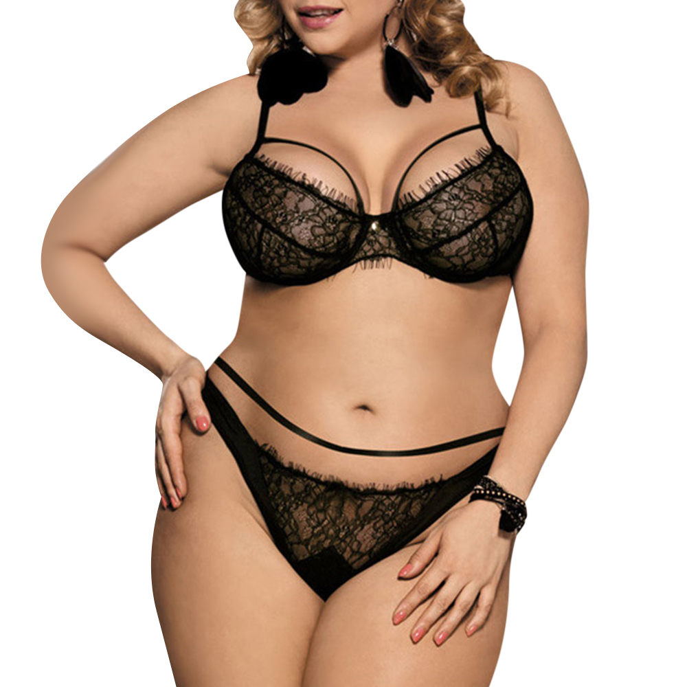 9295a3971c4 Wipalo Plus Size Sexy Black Lace Bralette Briefs Set Underwire Lingerie  Balcony Women Bra Set Bras Adjustable Elegant Underwear-in Bra   Brief Sets  from ...