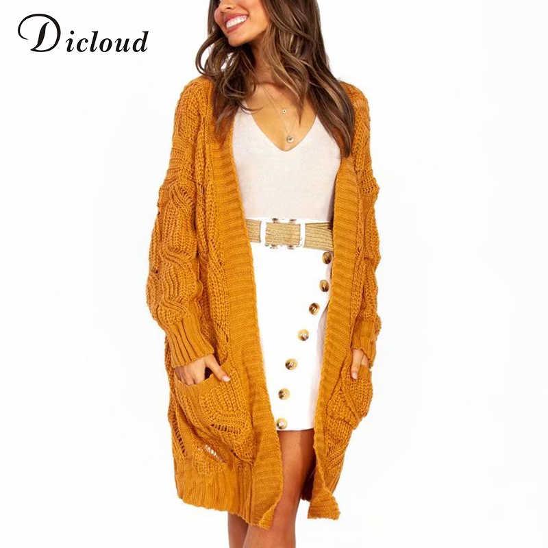 DICLOUD lungo cardigan donne 2019 giallo manica lunga solid casual maglioni a maglia giacca di grandi dimensioni delle signore vestiti di inverno