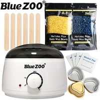 250g Brazilian Wax Depilatory Hot Film Hard Wax Pellet Waxing Warmer Set And Wax Applicator Sticks