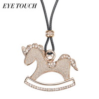 EYE TOUCH Little Horse Shaped Sweater Necklace Women Sweater Chain Luxury Crystals From Swarovski Pendant Light