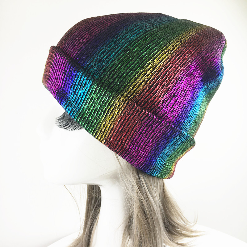 5de53106d05 Rainbow Colorful Print Punk Style Curled Knitted Beaines For Women Winter  Acrylic Knitting Skullies Caps Hat