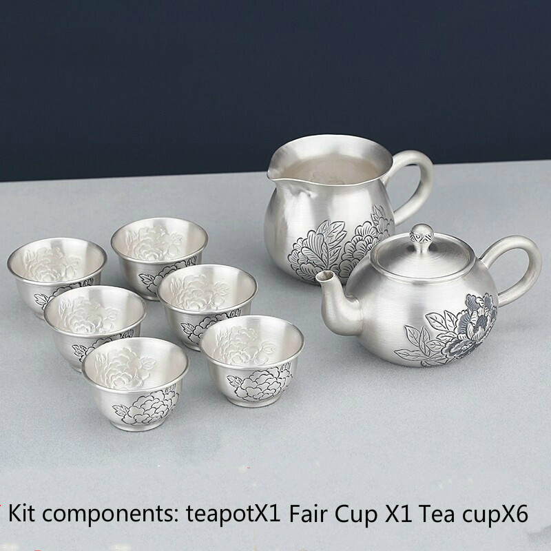 Sterling silver 999  Hand made Kung Fu Silver Tea Set Portable Teapot Cup Ceremony