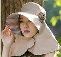 2016 Mujeres de La Manera de Ala Ancha sombreros Floppy Solid Summer UV Playa protección Sol Sombrero de la Bóveda Casquillo de la pesca sombrero del cubo del verano 6 color #3845
